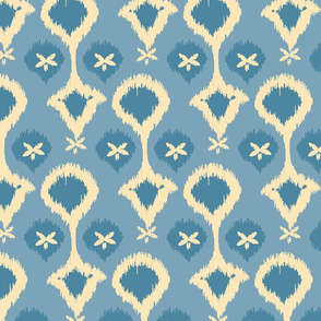 20-6k Ikat Pearls French Blue Pale Yellow