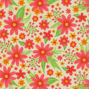 red and gold floral with green leaves
