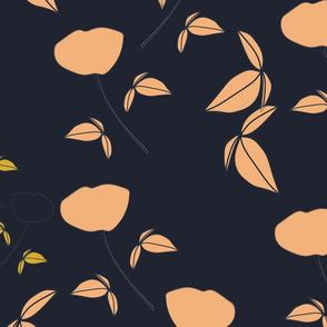 Falling florals - tangerine