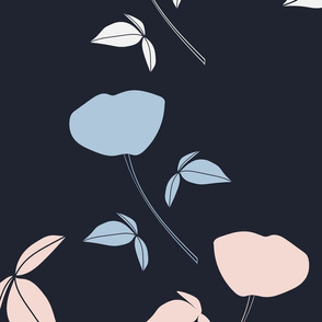 Falling florals - blue and pink