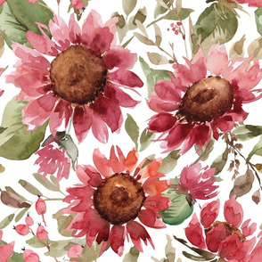 Red Sunflower Watercolor Floral on white - extra large scale