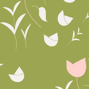 Pink tulip on olive
