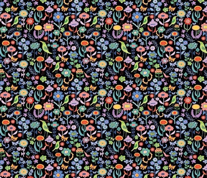 Watercolor Floral Black