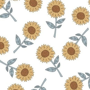 Sunflowers and petals sweet boho flowers garden summer summer yellow white blue
