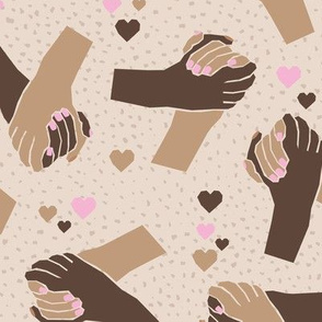 Black Lives Matter hand in hand against racism friendship and love beige brown pink