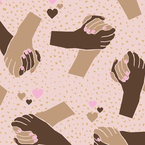 Black Lives Matter hand in hand against racism friendship and love mustard brown pink