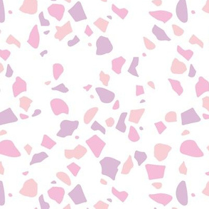 Irregular terrazzo texture abstract scandinavian trend classic basic spots design spring summer pink lilac blush girls