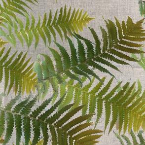 ferns and gray linen texture 2