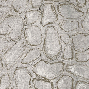 gray texture linen and hand-drawn rocks