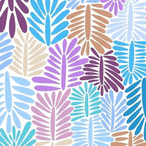 Pastel abstract leaves, dreamy forest, blue  purple pink