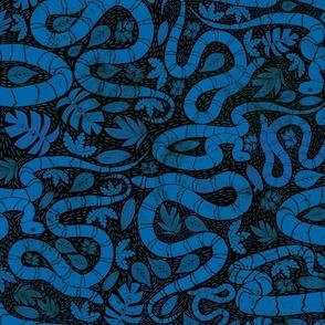 Snake block print blue