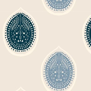 """20-6h Simple Woodcut 7"""" French Blue Flax Antique White"""