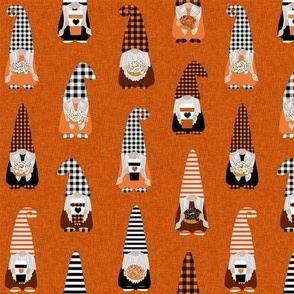 MEDIUM fall gnomes fabric - tomten fabric, pumpkin spice coffees and donuts - buffalo plaid orange