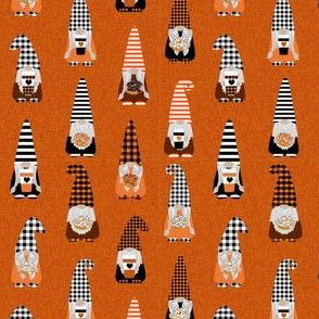 SMALL fall gnomes fabric - tomten fabric, pumpkin spice coffees and donuts - buffalo plaid orange
