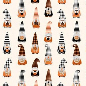 SMALL fall gnomes fabric - tomten fabric, pumpkin spice coffees and donuts - buffalo plaid