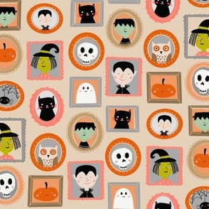 halloween portraits - cute kids illustration fabric by andrea lauren -tan