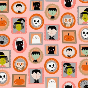 halloween portraits - cute kids illustration fabric by andrea lauren -pink