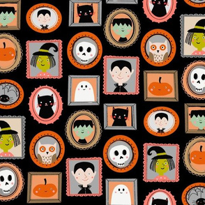 halloween portraits - cute kids illustration fabric by andrea lauren - black