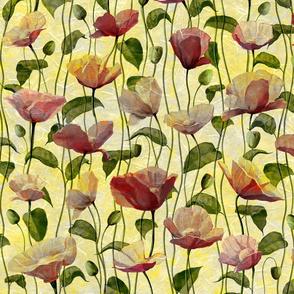 Vintage yellow poppies