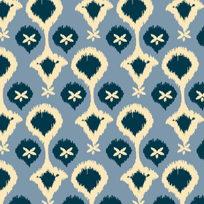 20-6e Ikat Pearls Flax Oatmeal Dark French Blue