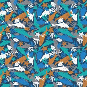 Shark pen sketch blue chaotic arrangement
