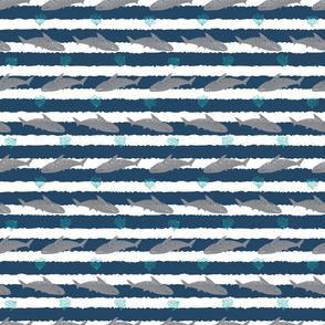 Shark pen sketch blue rows 03 stripes
