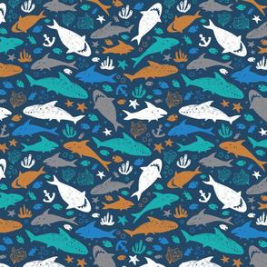 Shark pen sketch dark blue