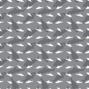 Shark pen sketch grey rows 02