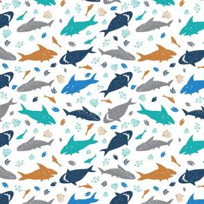 Shark pen sketch white rows 01