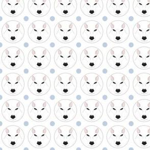 Loup blanc bleu - White wolf blue dot