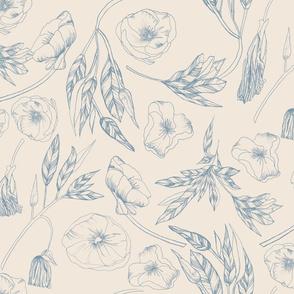 20-6a Ozark Floral Dusty French Blue Flax Oatmeal