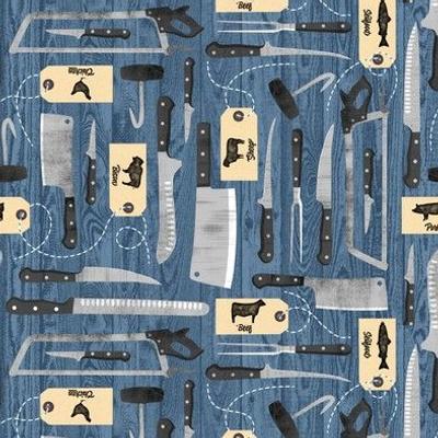 Butchers Tools - Knives - Blue
