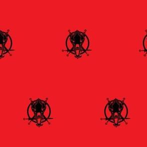 Mishas Bear Skull Black on Red