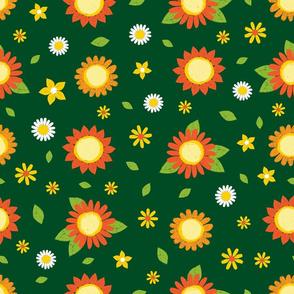 Sunflower pen sketch dark green 02