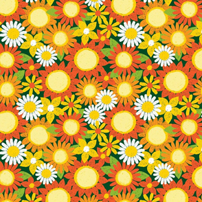 Sunflower pen sketch green flowerbed