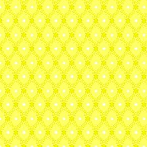 1830s Medium Yellow Flowers Sprigs Dots