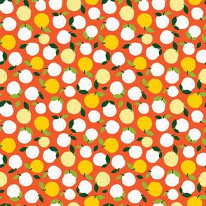 Sunflower pen sketch orange oranges polkadots