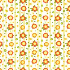 Sunflower pen sketch white stripes 02
