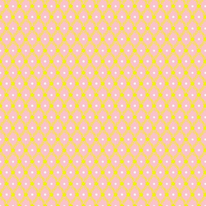 1830s Petite Yellow on Rose Sprigs Dots