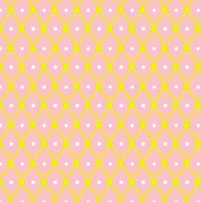 1830s Medium Yellow on Rose Flowers Sprigs