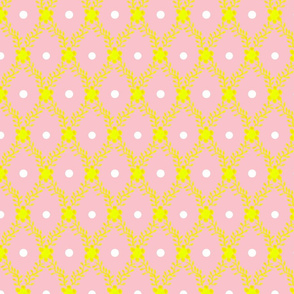 1830s Grande Yellow on Rose Flowers Sprigs Dots