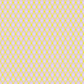 1830s Petite Yellow on Lavender Flowers Sprigs Dots
