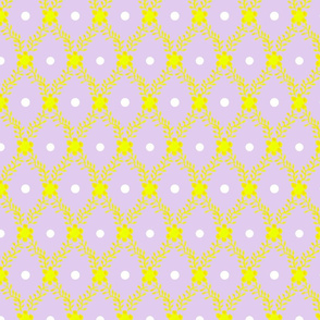 1830s Grande Yellow on Lavender Flowers Sprigs Dots