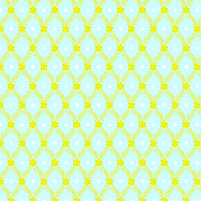 1830s Medium Yellow on Aqua Flowers Sprigs Dots