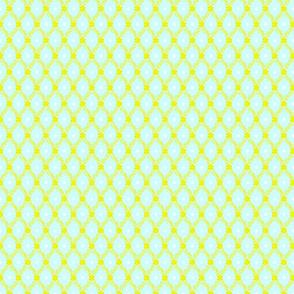 1830s Petite Yellow on Aqua Flowers Sprigs Dots