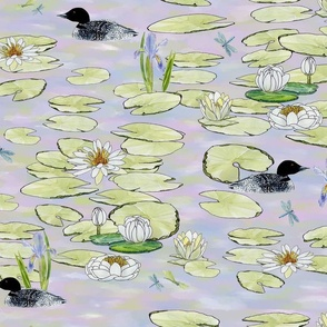 loons-and-lilies-at-the-lake