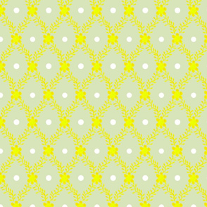 1830s Grande Yellow on Sage Flowers Sprigs Dots Grande