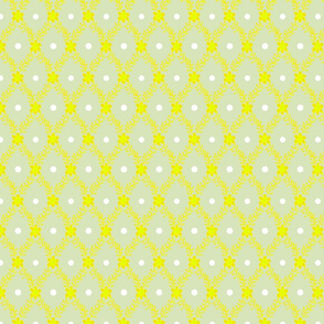 1830s Medium Yellow on Sage Flowers