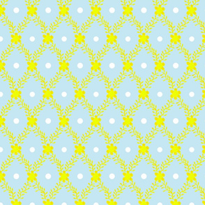 1830s Grande Yellow on Blue Flowers Sprigs Dots