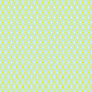 1830s Petite Yellow on Blue Sprigs Dots